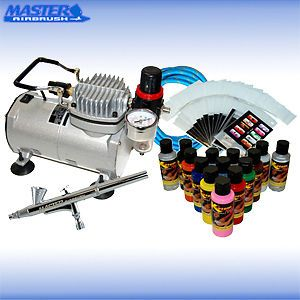Nail Art Airbrush Kit Set Air Compressor Paint 20pk Stencil Design Dual Action