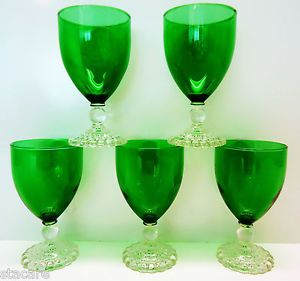 5 Vtg Anchor Hocking Fire King Forest Green Bubble Bottom Sherbet Boopie Glasses
