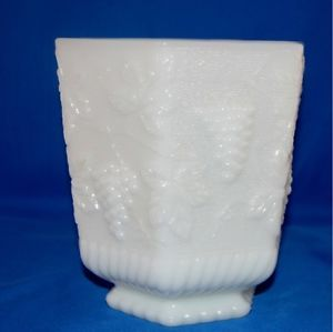 Vintage Fire King Milk Glass Vase Anchor Hocking Glassware