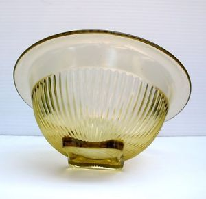 Vintage 1930s Anchor Hocking Art Deco Embossed Citrus Yellow Glass Bowl
