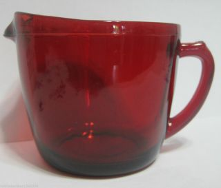 Used 1938 Antique Anchor Hocking Royal Ruby Red Depression Glass Cream Pitcher