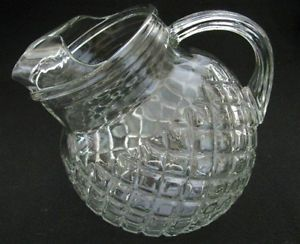 Anchor Hocking Waterford Waffle Clear Depression Glass Tilt Ball Pitcher Ice Lip