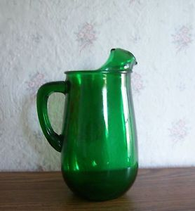 Vintage Forest Green Glass Juice Pitcher w Ice Lip Anchor Hocking