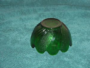 Vtg Anchor Hocking Fire King Lotus Leaf Blossom Bowl Forest Green Glass