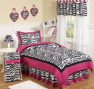 Pink Black Zebra Print Teen Childrens Girl Twin Bedding Set Room JoJo Designs