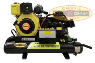 New Portable 6hp Diesel Air Compressor with Electric Start 16CFM Small Twin Tank