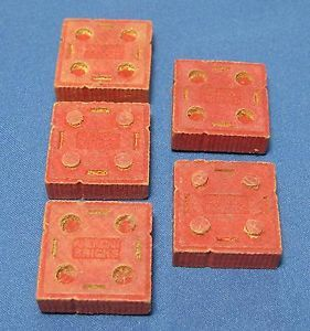 Vintage 5 American Bricks Red Square Stacking Interlocking Block Toy Wood Wooden