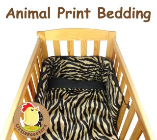 Faux Fur Animal Print Baby Cot Cot Bed Quilt and Bumper Bedding Set Made in UK