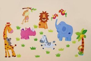 Huge Nursery Children Kid Boy Girl Bedroom Jungle Animal Wall Furniture Stickers