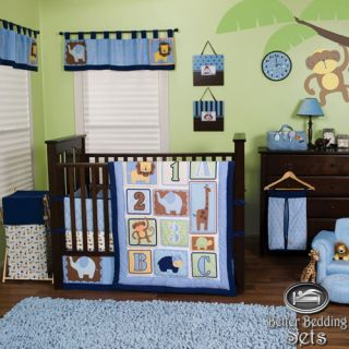 Trend Lab Baby Boy ABC 123 Animal Print Crib Nursery Linen Bedding Quilt Bed Set