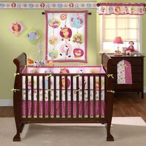 Jungle Animals Elephants Giraffes Zebra Baby Girl 3P Nursery Crib Bedding Set