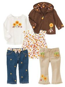 New Baby Girls Fall Winter Clothes 3 6 MO Months Gymboree Sunflower Smiles Lot