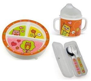 Sugarbooger Plate Sippy Cup Silverware 3 PC Baby Feeding Set Hoot Owl New