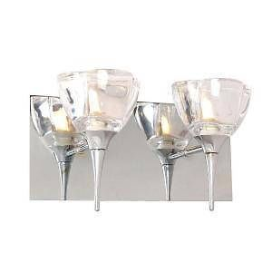 2 Light Hampton Bay Bathroom Fixture Vanity Light Chrome Bath Bar Clear Glass