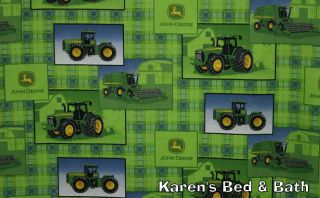 John Deere Tractor Boys Green Plaid Patch All Over Curtain Valance New