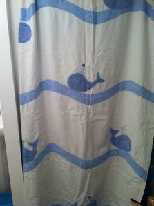 Pottery Barn Kids Whale Shower Curtain Rug Towels Bath Mitt Hook 7 Piece Set
