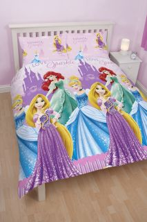 Disney Princess Girls Pink Sparkle Double Duvet Quilt Cover Bedding Set Bed Set