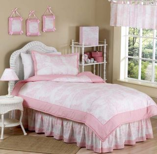 French Pink Toile Kids Twin Size Bed Bedding Comforter Set for Girl Boy Bedroom
