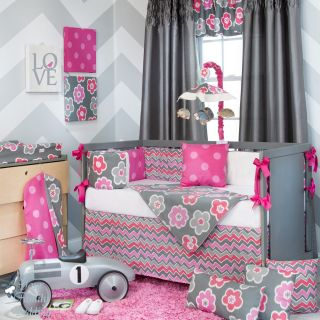 Glenna Jean Baby Girl Pink Grey Modern Crib Nursery Room Idea Bedding Quilt Set