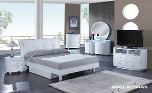 Global Furniture Bedroom Set King Modern Contemporary White 7 Piece Set