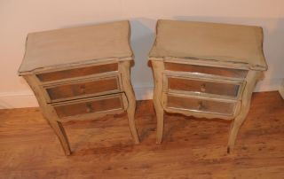 Pair French Mirrored Bedside Chests Tables Shabby