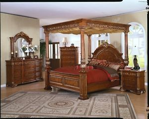 Four Post Queen Canopy Bed Set King Bedroom Furniture Sets Marble Top Dr NS