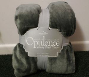 Berkshire Blanket Opulence Silver Grey Gray Ultra Plush Faux Fur Throw Blanket