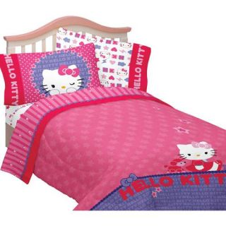 8PC Twin Girls Pink Purple Hello Kitty Comforter Sheets Curtains Bedding Set