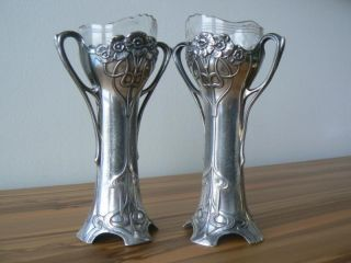RARE Pair WMF Electroplated Ox Art Nouveau Bud Vases with Glass Antique German