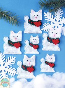Plastic Canvas Kit Design Works Set of 6 Christmas Cats Ornaments DW1226