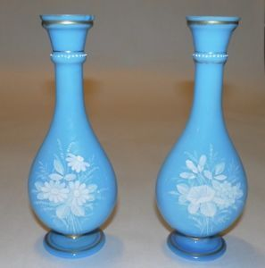 Antique Victorian Blue Glass Bud Vases Mary Gregory Type Floral Decoration