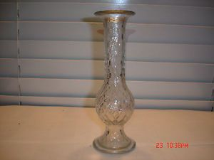 Vintage E O Brody Co Clear Glass Diamond Pattern Flower Bud Vase 920 Vases