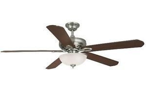 "Hampton Bay Asbury 60"" Ceiling Fan w Light Kit Remote Control Brushed Nickel"