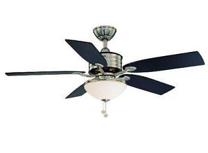 Hampton Bay Santa Cruz 52 inch Ceiling Fan with Light Kit Nickel Black Accents