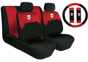 Neoprene Car Seat Covers 11 Piece Set Superior Skeleton Skull Combo White Red