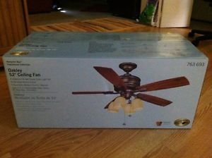 "Hampton Bay Oakley 52"" Ceiling Fan Transitional Collection with Light Kit"
