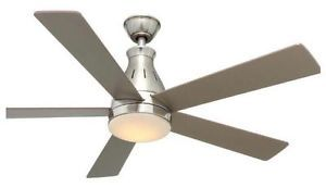 "Hampton Bay Cobram 48"" Brushed Nickel Ceiling Fan with LED Light Kit Remote"