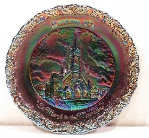Vintage Carnival Round Glass Christmas Plate Dish Art