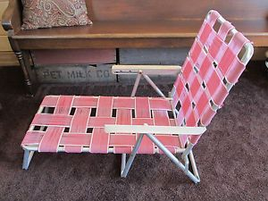 Vintage RARE Childs Aluminum Folding Reclining Webbed Chaise Lounge Lawn Chair