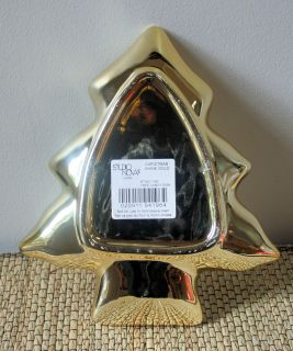 Studio Nova Metallic Shiny Gold Christmas Tree Shape Serving Candy Dish
