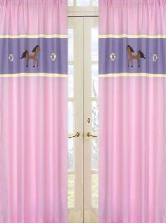 Pretty Pony Horse Pink Window Treatment Panels Curtains