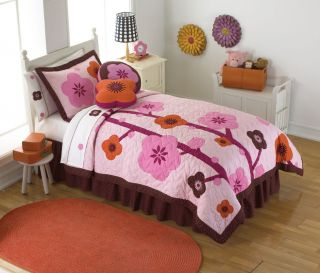 Modern Hot Pink Red Flower Garden Girl Twin Bedding Set