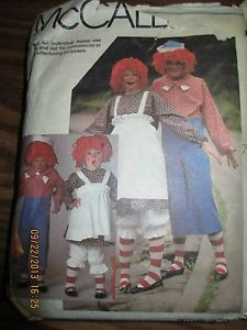 McCalls Sew Pattern Raggedy Ann Andy Costume Adult Sz Medium w 16 Pattern Pcs
