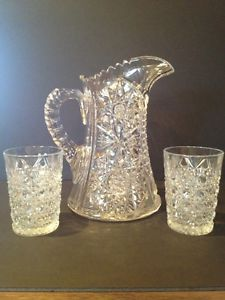 Abp Crystal Cut Glass Pattern Pitcher Set of Two RARE Glasses Patterns