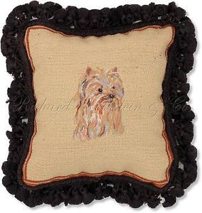 Yorkshire Terrier Decorative Dog Needlepoint Pillow