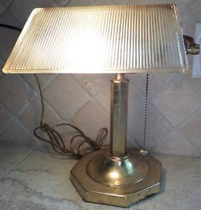 Vintage Bankers Piano Desk Lamp Clear Glass Shade