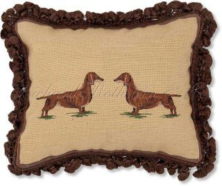 Dachshunds Decorative Dog Needlepoint Throw Pillow