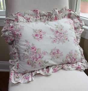 Simply Shabby Chic Pink Rose Ruffle Decorative Throw Pillow