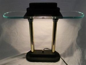 Modern Art Deco Halogen Desk Lamp Glass Shade Adjustable Dimmer Brass Black