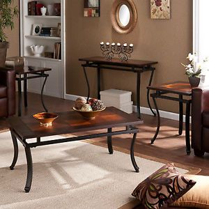 4 PC Set End Side Console Coffee Accent Table Tables Wood Metal Frame New